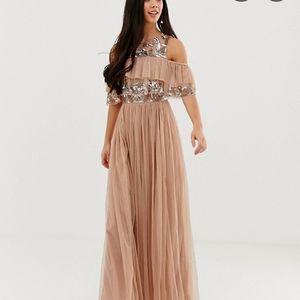 MAYA Maxi Sequin tulle dress OFF-SHOULDER